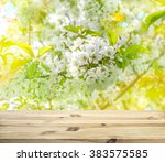 Small photo of Wood table top on shiny sunlight blossoming of cherry blooms background. Spring flowers with sun rays and light leaks. Selective focus