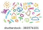children drawing multicolored... | Shutterstock .eps vector #383576101