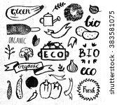 ink logotypes set. badges ... | Shutterstock .eps vector #383581075