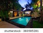 modern tropical villa with... | Shutterstock . vector #383585281
