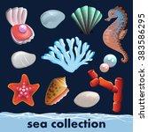 cartoon sea collection. shells  ... | Shutterstock .eps vector #383586295