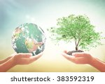 earth hour concept  two human...   Shutterstock . vector #383592319