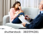 young woman on reception at... | Shutterstock . vector #383594281
