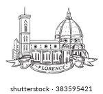 santa maria del fiore  florence ... | Shutterstock .eps vector #383595421