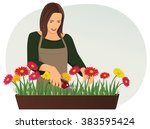professional florist is... | Shutterstock .eps vector #383595424