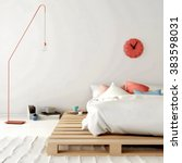 sketch of stylish white bedroom ... | Shutterstock . vector #383598031