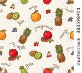 seamless fruits collection... | Shutterstock .eps vector #383598451
