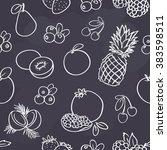 seamless fruits pattern on dark ... | Shutterstock .eps vector #383598511