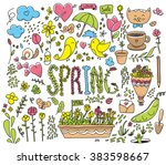 spring graphics set. hand drawn ... | Shutterstock .eps vector #383598667