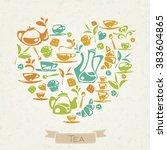 i love tea. heart shaped tea... | Shutterstock .eps vector #383604865