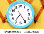 wall clock on the wood... | Shutterstock . vector #383605831