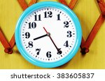 wall clock on the wood... | Shutterstock . vector #383605837