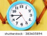 wall clock on the wood... | Shutterstock . vector #383605894