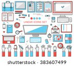 linear workplace icons... | Shutterstock .eps vector #383607499