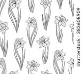 seamless pattern with daffodils.... | Shutterstock .eps vector #383608909