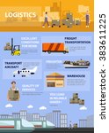 logistic and transportation... | Shutterstock .eps vector #383611225