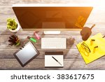 office workplace with tablet...   Shutterstock . vector #383617675