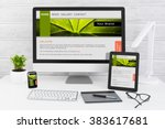 designer's desk with responsive ... | Shutterstock . vector #383617681
