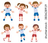 children of exercise clothes | Shutterstock .eps vector #383628919