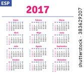 spanish calendar 2017 ... | Shutterstock .eps vector #383629207