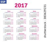 spanish calendar 2017 ... | Shutterstock .eps vector #383629231