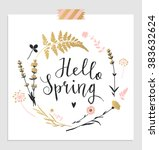 "hand drawn lettering ""hello... | Shutterstock .eps vector #383632624"