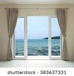 opened door  sea view background | Shutterstock . vector #383637331