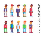 set of different male... | Shutterstock .eps vector #383637745