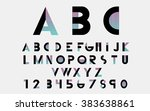 black alphabetic fonts and... | Shutterstock .eps vector #383638861