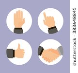 hands icons set  flat design... | Shutterstock .eps vector #383648845
