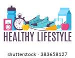 illustration sport fitness... | Shutterstock .eps vector #383658127