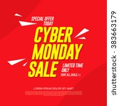cyber monday sale. banner... | Shutterstock .eps vector #383663179