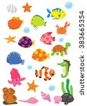 cartoon underwater world with... | Shutterstock .eps vector #383665354