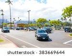 cars parked near a supermarket...   Shutterstock . vector #383669644