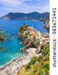 vernazza   beautiful village in ...   Shutterstock . vector #383671441