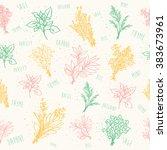 seamless herbs mix pattern | Shutterstock .eps vector #383673961