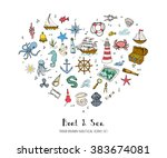 hand drawn doodle boat and sea... | Shutterstock .eps vector #383674081
