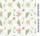 seamless outline herbs pattern | Shutterstock .eps vector #383674084