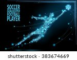 thin line soccer player in... | Shutterstock .eps vector #383674669