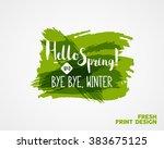"""hand lettering """"hello spring...   Shutterstock .eps vector #383675125"""