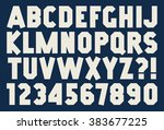 angular alphabet and number... | Shutterstock .eps vector #383677225