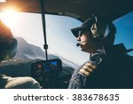 man and woman pilots flying a... | Shutterstock . vector #383678635