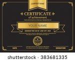 black gold elegant certificate... | Shutterstock .eps vector #383681335