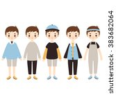 set of cute cartoon boys... | Shutterstock .eps vector #383682064