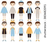 set of cute cartoon boys... | Shutterstock .eps vector #383682091