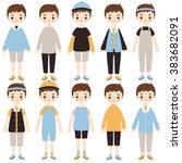 set of cute cartoon boys... | Shutterstock .eps vector #383682091