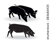 three pigs. black and white... | Shutterstock .eps vector #383683435