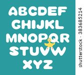 hand drawn vector alphabet and... | Shutterstock .eps vector #383685214
