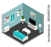 isometric room with furniture | Shutterstock .eps vector #383689234
