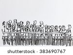 crowd walking in urban scene... | Shutterstock . vector #383690767